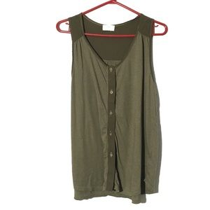 T.la Anthro Green Sleeveless Button Up Blouse L
